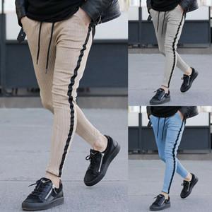 Nouveaux 2019 Hommes Casual rayé longues Pantalons Homme Slim Fit Sport Gym Skinny Crayon Pantalons Plus Size Sweatpants