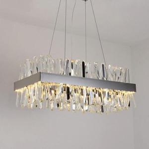 Прямоугольник Роскошный дизайн современная хрустальная люстра светодиодный свет AC110V 220 В блеск Cristal Chrome столовая гостиная подвесной светильник