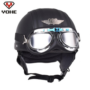 YOHE Retro Motorcycle Helmet Cruiser Leather Pilot Scooter Vintage Half Helmets Casque Moto Casco Capacete with Goggles