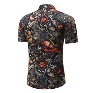 Floral Printed Mens Tshirts Turn Down Collar Short Sleeve Slim Shirts Summer New Style Mens Clothing