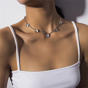 Бабочки ожерелье серьги комплектов ювелирных моды цепи ожерелье Чокеры женщины ожерелье популярный подарок ювелирных изделий