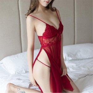 Seksi Gümrükler Sexy Lingerie Kadın Sheer Derin V Yaka Halter Babydoll Gecelikler + G-string Seksi Iç Çamaşırı Set Erotik Pijama