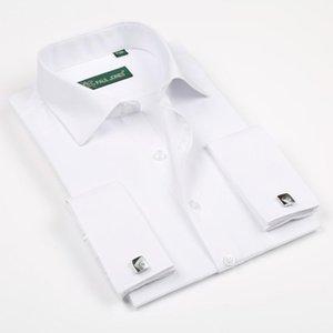 2020 Твердые рубашки новый мужской с длинным рукавом Повседневные Мужской Марка рубашки Regular Fit Франция Изысканный Запонки платье