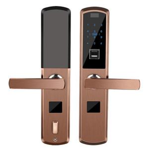 Droit d'empreinte digitale intelligente serrure de porte électronique semi-automatique mot de passe verrouillage contrôle d'accès carte de verre de glissière Rechargeable au lithium batte