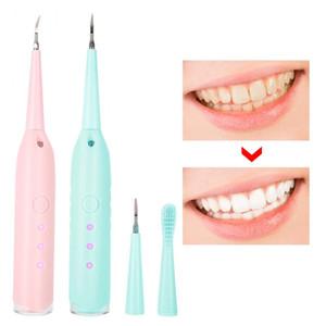 تبييض الأسنان المحمولة الكهربائية سونيك الأسنان المتسلق الأسنان أدوات حساب التفاضل والتكامل مزيل البلاك البقع مكشطة رئيس + فرشاة الأسنان الأسنان
