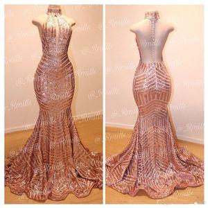 2020 de oro rosa atractivo de la sirena de las lentejuelas Largo Vestidos de baile de cuello alto sin respaldo formal del partido vestidos de noche trajes de soirée BC0561
