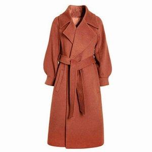 2019 Women's elegant spring and autumn woolen coat Long bandage warm woolen coat cardigan Ladies loose large size