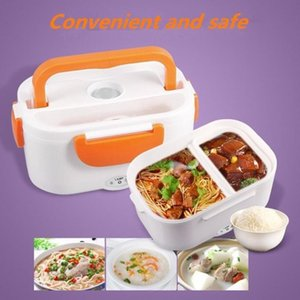 A Electric Heating Lunch Box with Spoon Food Container Auto Car Food Rice Container Warmer For School Office Home Dinnerware C1811