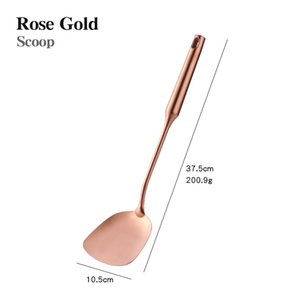 1pc Cookware Stainless Steel Rose Gold Kitchen Utensils High-grade Kitchen Tool Functional Serving Spoon Soup Ladle Spatula