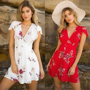 Womens Boho Beach Summer sundress Casual Party Cocktail Short Sleeve Floral Dress elegant playa v-neck harajuku vestido femme