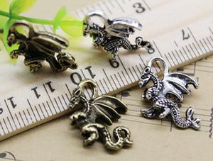 100pcs ptérosaures dragon alliage charme pendentif rétro bijoux DIY porte-clés ancien argent / bronze pendentif pour bracelet boucles d'oreilles 20x16mm