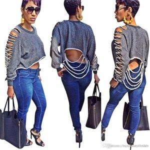 Trous femmes T-shirt à manches longues automne Vestidos courtes Tops T-shirt Designer Femmes élégant Vêtements