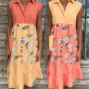 Folds Thin V-Neck Designer Female Casual Loose Printing Sleeveless Dress Clothing Stitching Sleeveless Womens Dress Summer Fashion