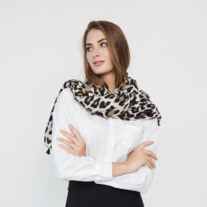 Moda Mujer Bufanda Estampado de leopardo Gradiente Color Viscosa Bufanda Primavera Verano Señora Scraf Chal Abrigo Suave Ligero
