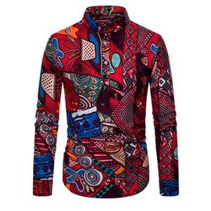 Mens-beiläufige Hemden Ethnic Regular Einreiher Kontrast-Farben-Shirts Langarm-beiläufige Baumwollwäsche Printing Shirts
