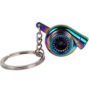 Creative gift Auto Car Turbo Keychain Spinning Turbine Turbocharger Key Chain Keyfob Keyring Colour
