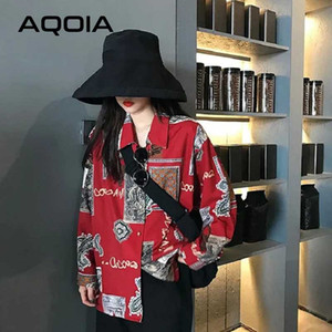 AQOIA Vintage Style Blumendruck-Frauen-Bluse Boyfriend-lose lange Hülsen-Rot-Damen-Hemd 2020 Blusen Button Up Shirts