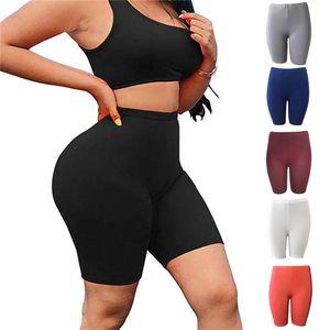 Yoga Kıyafetler kadın Yaz Yüksek Bel Fitness Spor Biker Şort Jogging 2021 Kısa Atletik Rahat Skinny Clubwear