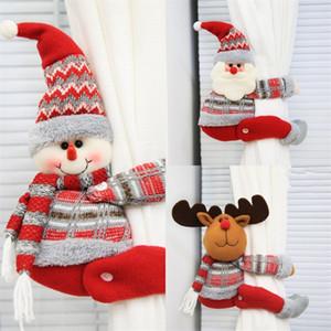Cortina de Navidad Hebilla Muñeca de dibujos animados Muñeco de nieve Elk Santa Claus Originalidad Soporte Clip Ventana Colgantes Universal Moda Nuevo patrón 12qya J1
