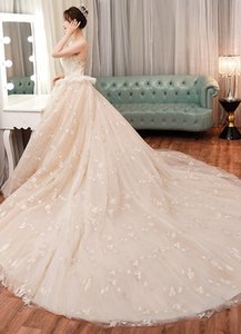 Custom French light wedding dress 2020 new bride spring forest topless princess fantasy super fairy thin and long tail wedding skirt