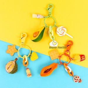 Fruit Box portachiavi Avocado Durian Cantaloupe 3 modelli Cartoon Figure Accessori Figure Giocattoli Portachiavi Articoli da regalo
