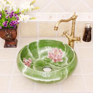 Porselen Çin Klasik Art lotus banyo seramik tezgah havzası lavabolar