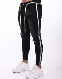 Zerrissene Loch Herren Designer-Jeans Distrressed Panelled dünne Bleistift-Hosen mit Kordelzug Street Style Männer lange Hosen