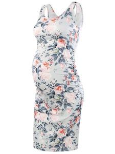 Ärmellose Kleider Umstandsmode Figurbetontes, geblümtes Trägershirt Mama mit U-Ausschnitt Baby Shower Schwangerschaftskleid Flower Q190521