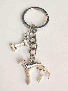 Sıcak 5pcs / lot Toptan moda Vintage Gümüş Tazı Köpek kemik Charm Anahtarlık Fit Anahtarlıklar Aksesuar Takı - 191