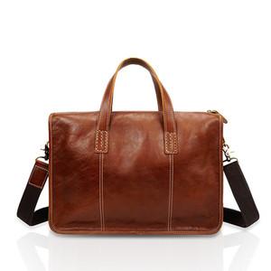 Business Briefcase Cowhide Casual Man Retro Crossbody Bag Men Genuine Leather Handbag