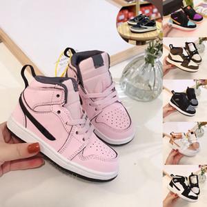 air jordan 1 mid kids 유아 트래비스 스캇 1 중간 멀티 컬러 운동화 모카 브라운 유아 I의 신발 아동 여자 핑크 로우 컷 스니커즈 골드 아이의 babys 트레이너