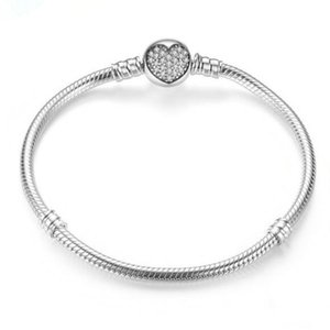 Authenetic 925 Sterling Silver Crystal Heart Clasp Snake Chain Bracelets Bangle Fit Bead Charm Diy Europe Jewelry