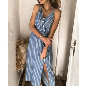 Fashion Boho Striped V-Neck Button Slip Dress Sexy Spaghetti Strap Split Dress Summer Beach Sundress Casual Midi