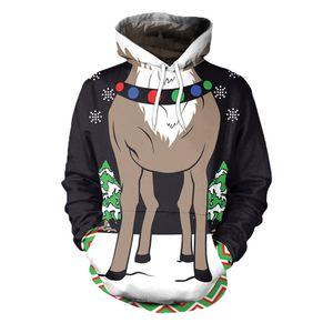 New Christmas Cosplay Costume Leisure Sweatshirt 3D Patterns Reindeer Fashion Printing Hooded Top Long Sleeve Unisex Adult Hot
