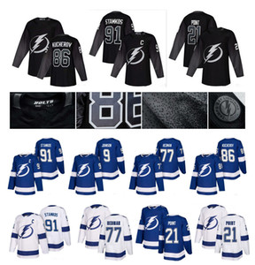 NHL Tampa Bay Lightning Jersey 21 Brayden Punto 86 Nikita Kucherov 91 Steven Stamkos Hedman Vasilevski, Victor Hedman alternativo de hockey