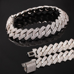 New Designer Chegada Luxo Ouro Bling Diamante Mens cubana Chain Link Bracelet Iced Out Zirconia Cubic Curb Pulseira Chains Jewelry For Guys