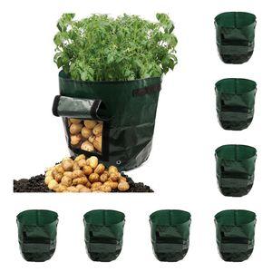 6x Garden Vegetables Potato Grow Bags With Access Flap Side Window 3 5 7 Gallon