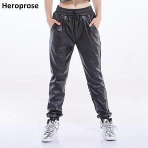 Heroprose 브랜드 2018 새로운 패션 블랙 가짜 가죽 조깅 런닝 조깅 힙합 스트리트 착용 스키니 하렘 바지 여성 CJ191203