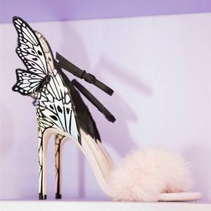 Hot Sale-Красочные бабочки Крыло Пряжка ремешка Open Toe Перья Женщины насосы платье обувь партии