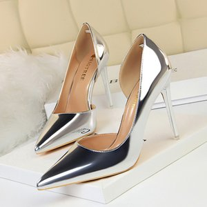 European and American style high heel simple thin heel metal high heel shallow mouth pointy side hollow out sexy single shoe