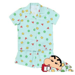 Nuevo 2019 Conjuntos de pijama Mujeres Imprimir Geométrico Lindo Conjunto de 3 piezas Top de manga corta + Pantalones cortos Cintura elástica + Blinder Loose S83201 Y19071901