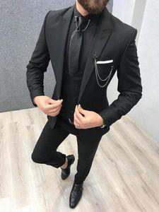 Свадебные смокинги для жениха Wear 2020 дружку наряда Остроконечного отворота Отец Пром Slim Fit Бизнес Мужских костюмов (куртка + жилет + брюки)