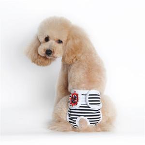 Rayas PET Ropa Pañal Algodón Lavable Lavable Perro Reutilizable Pantalones físicos ajustables Menstruación sanitaria Ropa de ropa interior