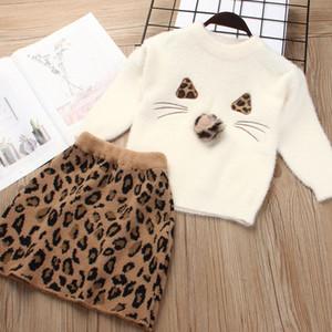 Las niñas niños Trajes de invierno de la falda del leopardo de la nutria Establece diseñador del suéter de la falda de los niños ropa de las muchachas de chicas Trajes Establece 07