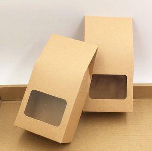 Kraft Kağıt Hediyelik Çanta Şeker Paketleme Çanta Düğün Standı Yukarı Mühür Kutular PVC Pencere 8 * 16 * 5 cm ile