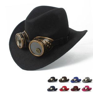 2019 Steampunk Cowboy Hat For Child Kids Wool Hollow Western Outblack Sombrero Hombre Jazz Cap Size 52-54
