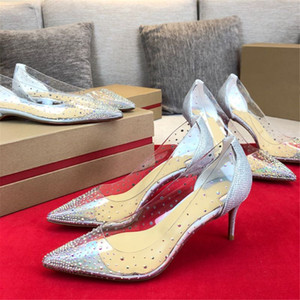 Women's Shoes New Fashion Pumps Hot Sell Summer Ladies Shoes Thin Heel Party Pumps Pointed Toe Rhinestone Crystal Female Shoes