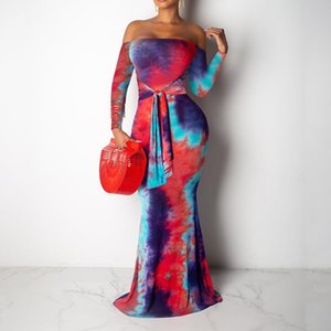Summer Sexy Club Party Elegant African Red Punk Women Long Dresses Bodycon Off Shoulder Lace Up Fall 2019 Fashion Maxi Dress