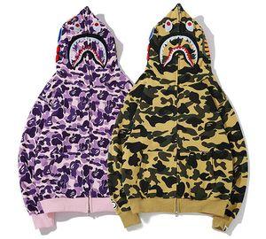 2020 Nuevo modelo con capucha de los hombres del tiburón sudadera con capucha Un Baño AAPE Ape Escudo Camo cremallera chaqueta de camuflaje sudaderas
