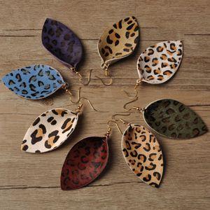 Leopard Leaf Earrings for Women Jewelry Lightweight PU Leather Earrings Handmade Statement Teardrop 8 Styles Lady Fashion Accessories
